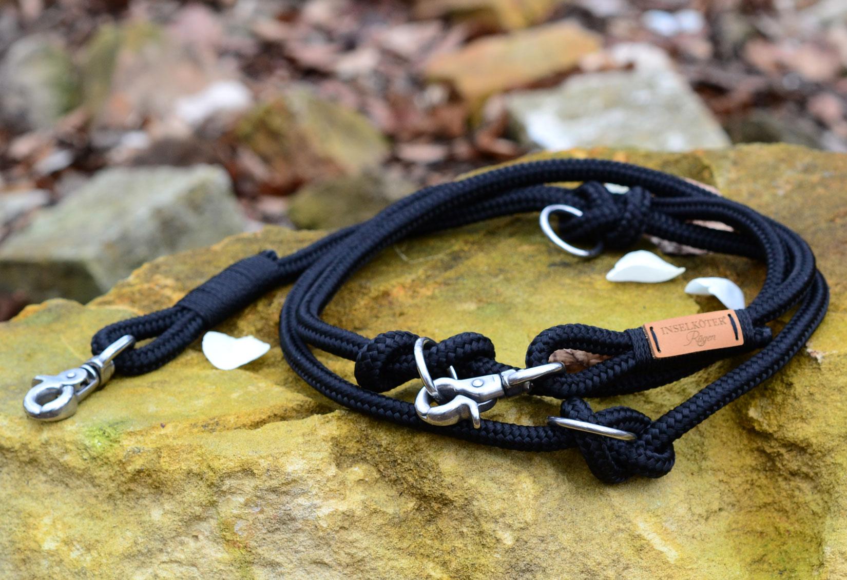verstellbare Hundeleine in schwarz aus Tauwerk