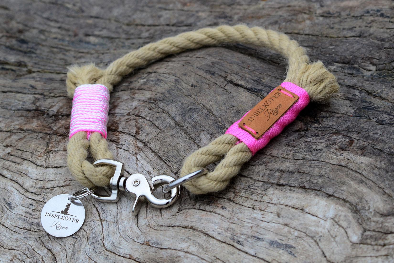 Halsband aus segeltau in rosa. Kreidefelsen Ruegen