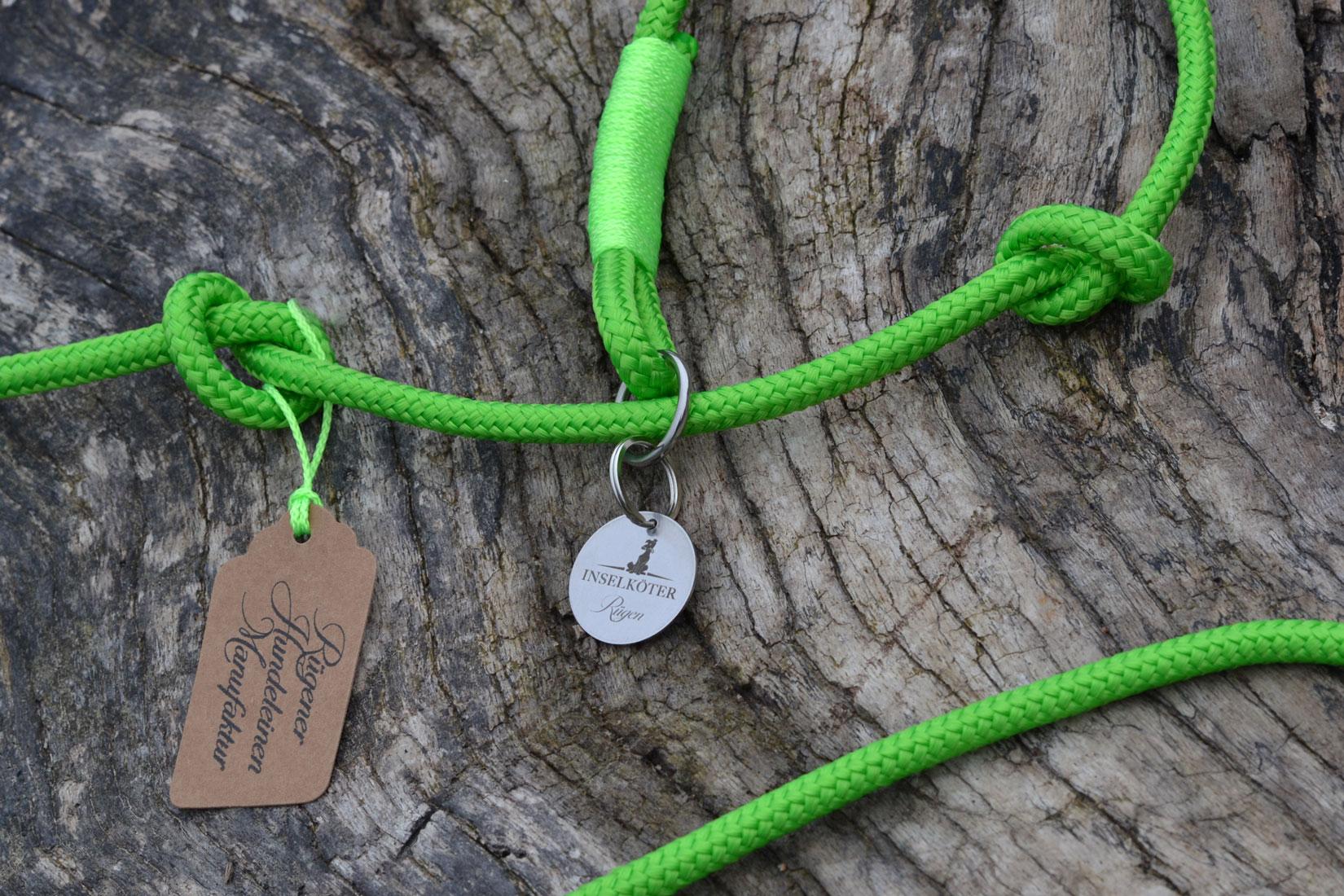 Retrieverleine in grün aus Tauwerk mit Hundetag aus Edelstahl