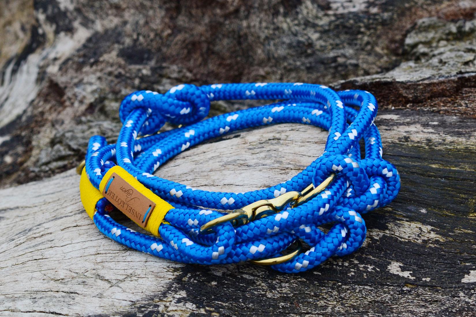 Maritime verstellbare Hundeleine in regatta blau weiss aus Tauwerk