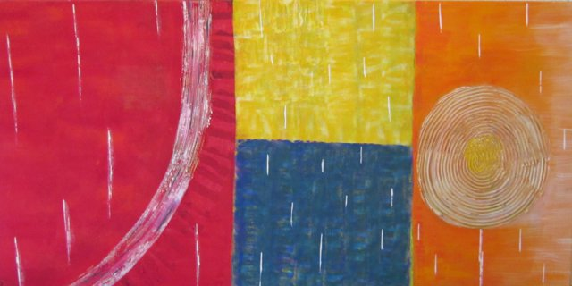 Bild Nr. 107, Format 100/50, Bunte Elemente, Preis Fr. 750.00