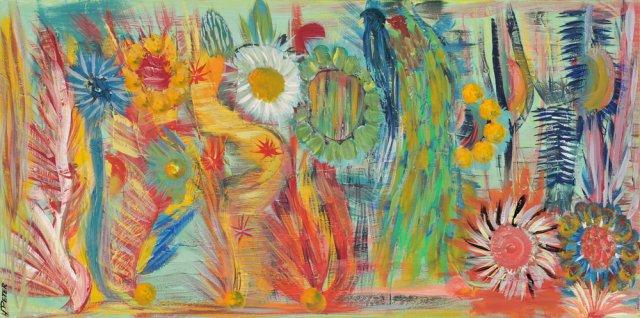 Bild Nr. 95, Format 100/50, Vogel im Blumendschungel, Preis Fr. 550.00
