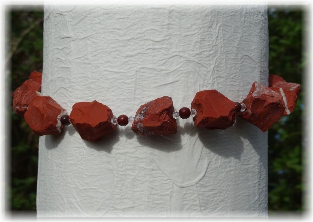 Edelstein Halskette Jaspis - Kristallglasperlen