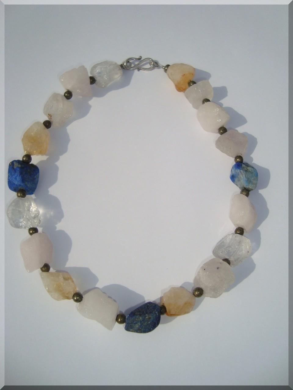 Edelstein - Brocken Halskette mit Pyrit - Perlen.