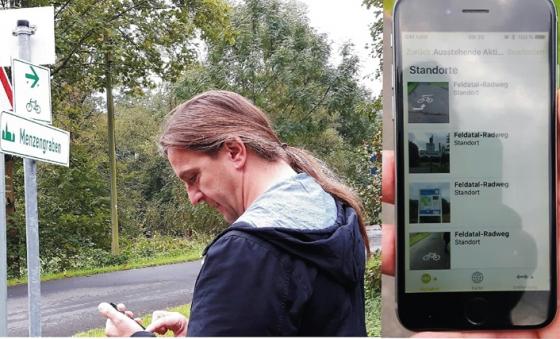 Carsten Rausch (GFAW) bei der Geodatenaufnahme für Outdoor Active.