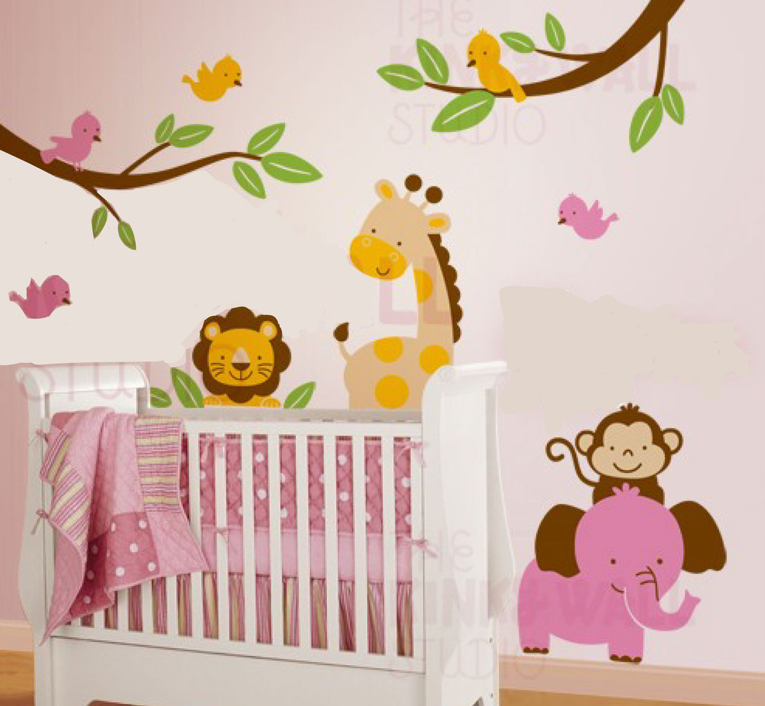 7 Jungle Animal Paradise Nursery Wall Decals Removable