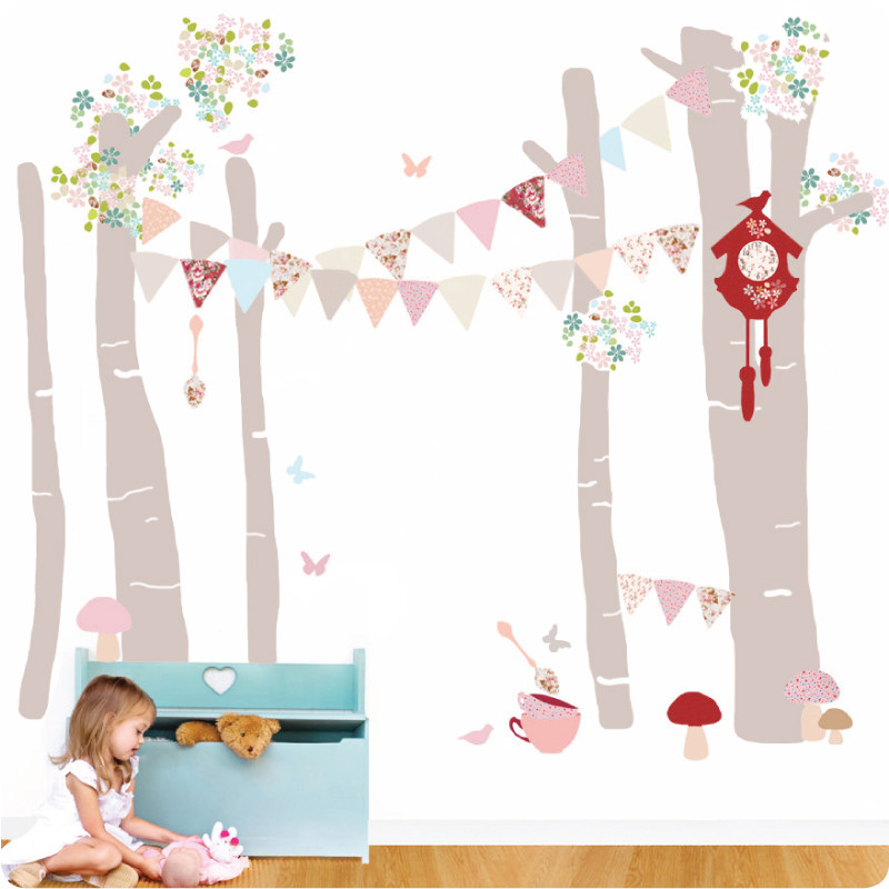 5 magical forest scene - leafy dreams nursery decals, removable kids