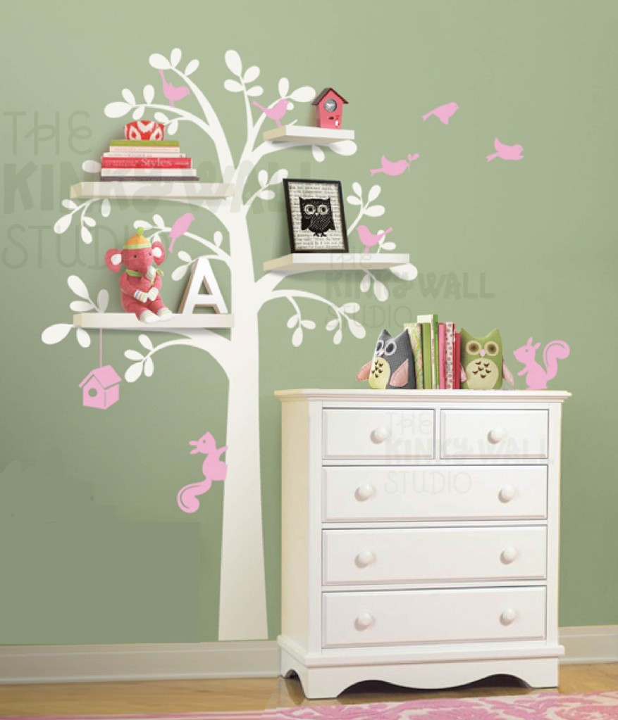 Woodland Shelf Tree Wall Decal-Wall Sticker : white tree wall decal with shelves - www.pureclipart.com