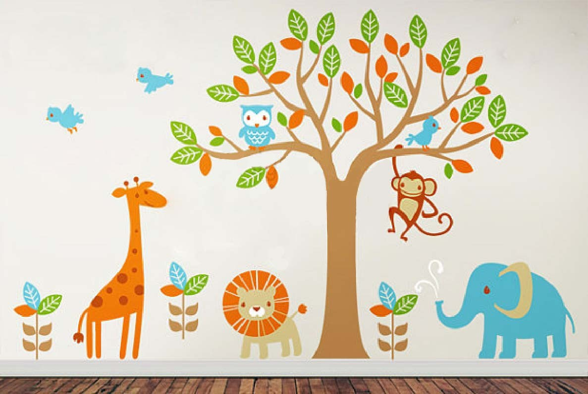 6 safari playland leafy dreams nursery decals removable Kids room wall painting design
