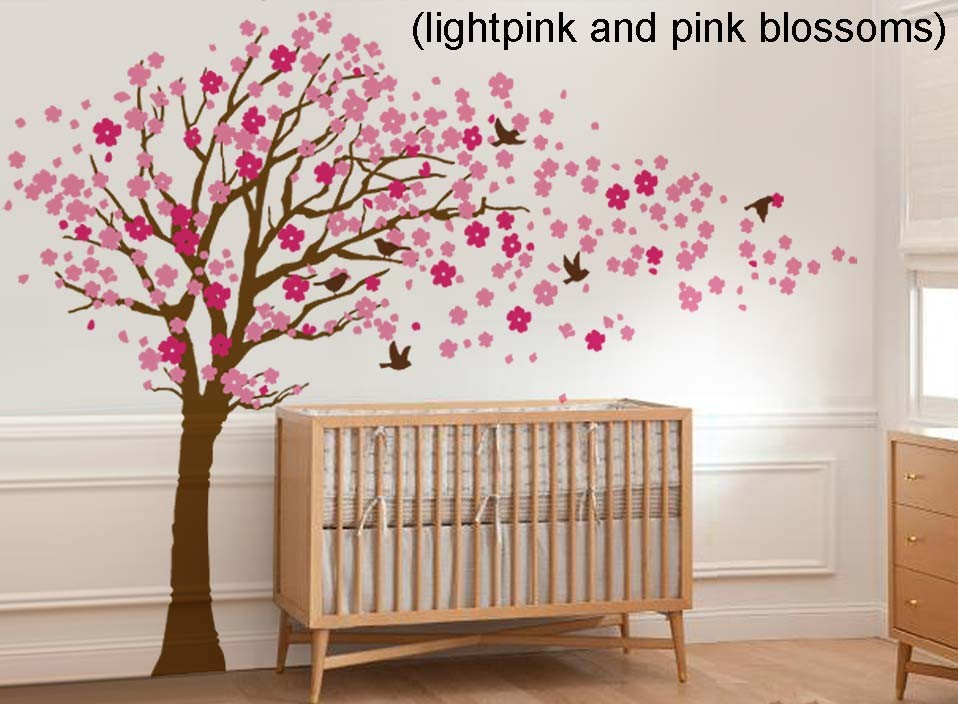 Cherry Blossom Tree With Birds Wall Decal Wall Sticker