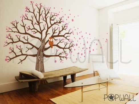 owl on blossom tree wall decal wall sticker