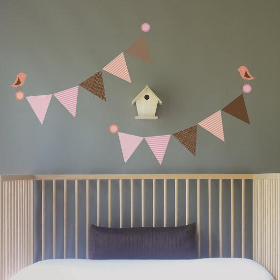 birds and bunting wall decal-wall sticker - leafy dreams nursery