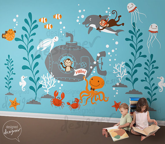 6 underwater world leafy dreams nursery decals. Black Bedroom Furniture Sets. Home Design Ideas