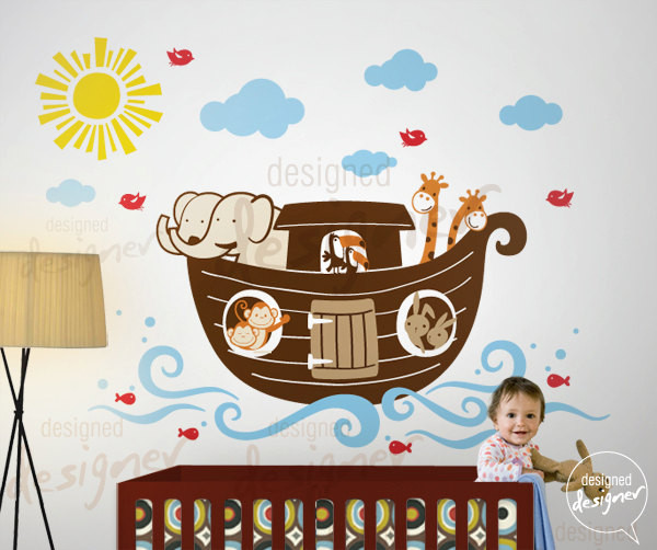 6 noahs ark leafy dreams nursery decals removable kids noah s ark giant wall decals roommates