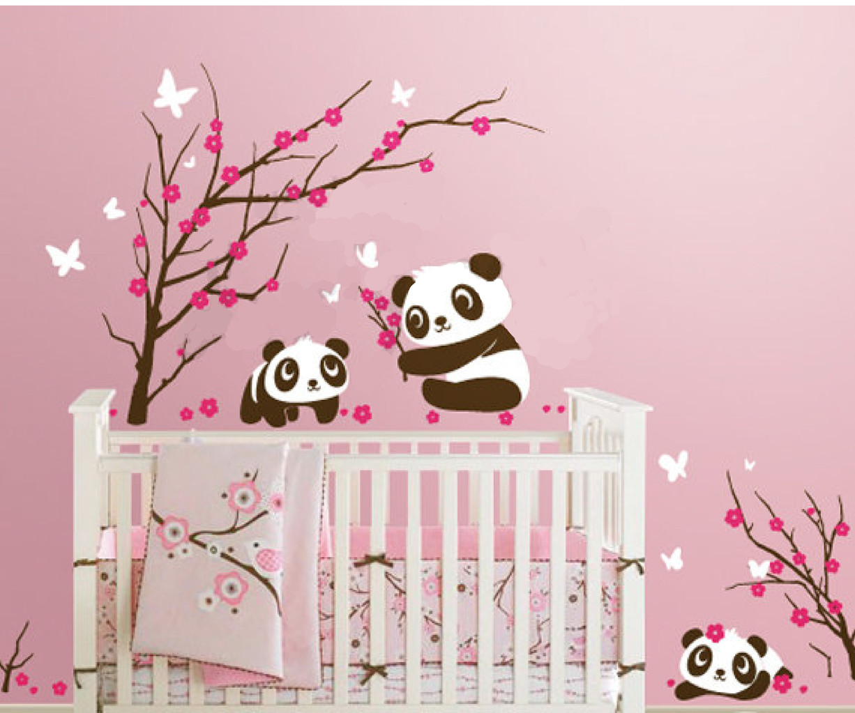 6 panda in cherry blossom nursery wall decals removable kids wall stickers fun room. Black Bedroom Furniture Sets. Home Design Ideas