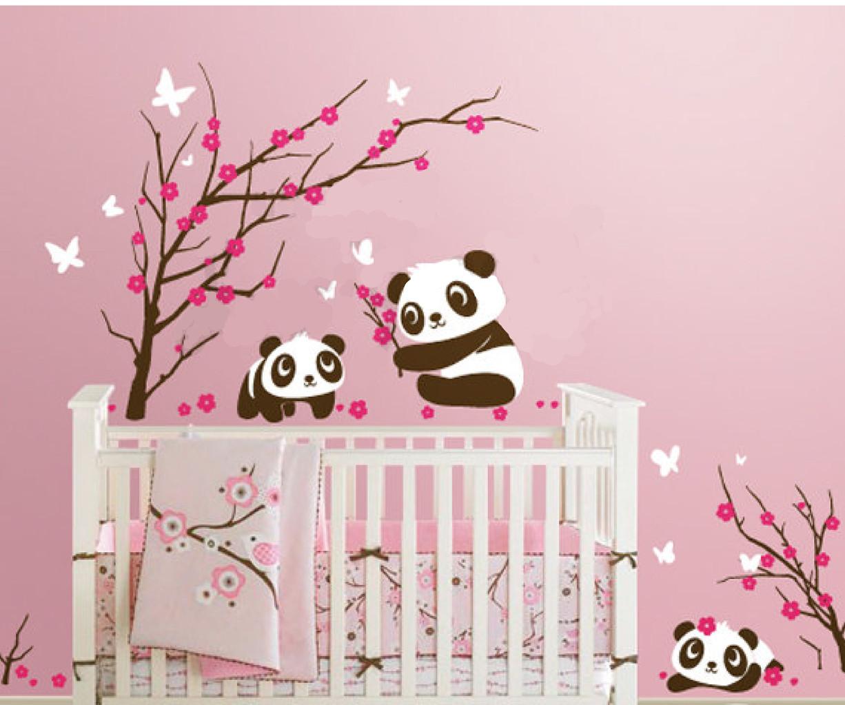 6 Panda In Cherry Blossom Leafy Dreams Nursery Decals