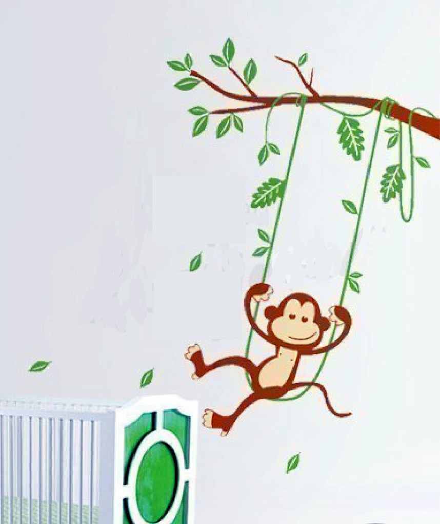 Swinging Monkey Wall Decal Sticker