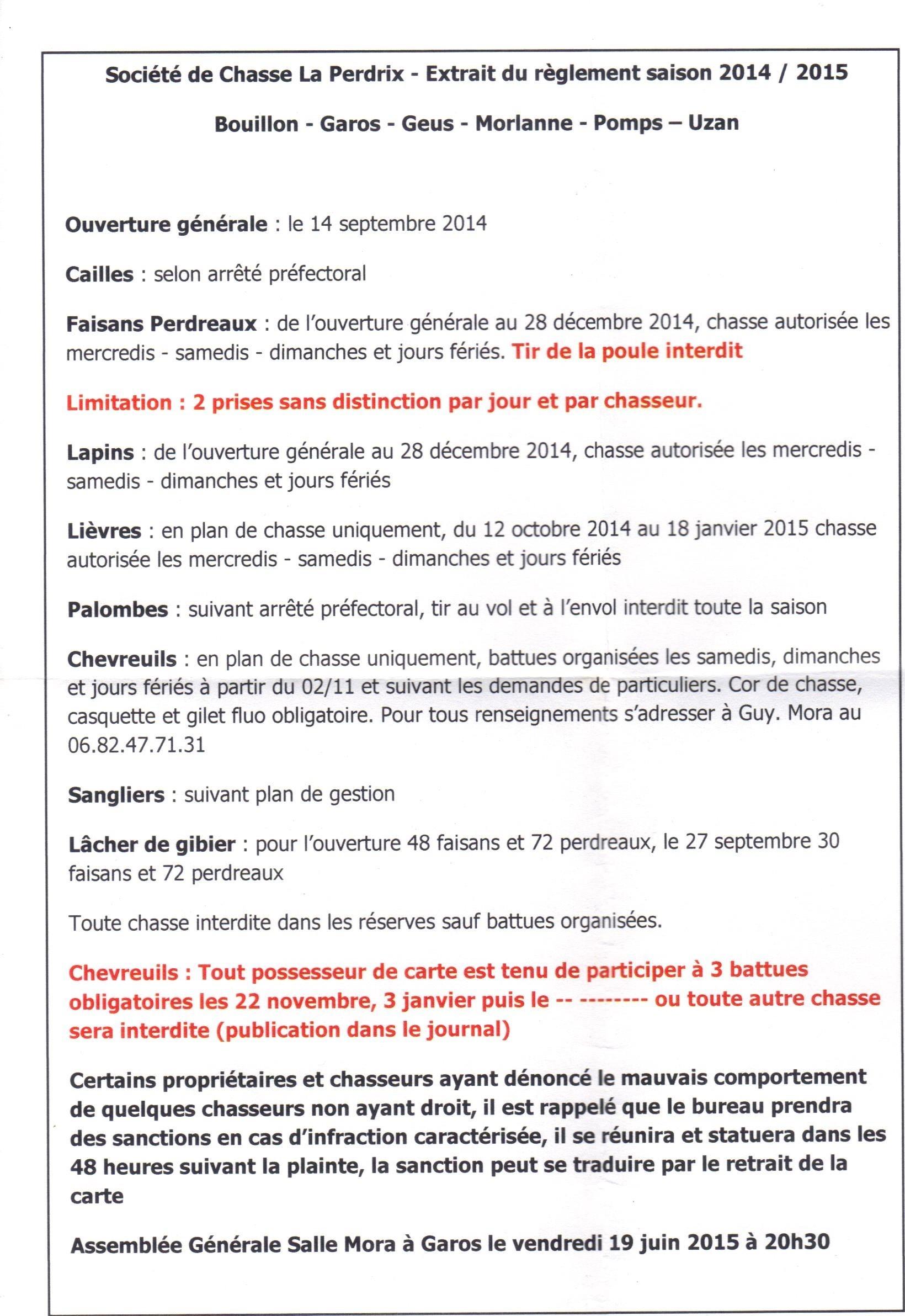 Société De Chasse La Perdrix Géus Darzacq