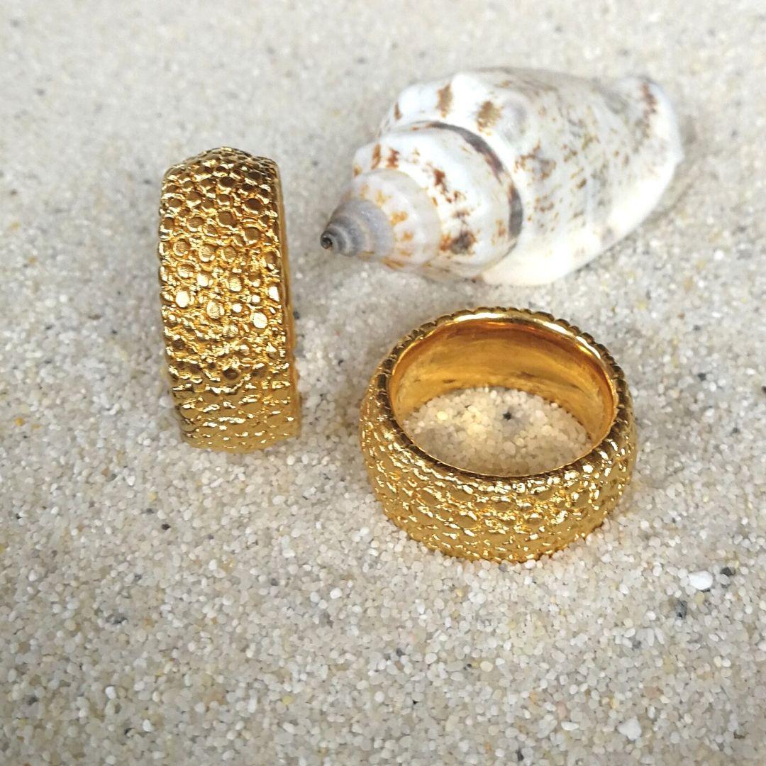 "Ring ""Rochie"" breit - Silber feingoldplattiert"