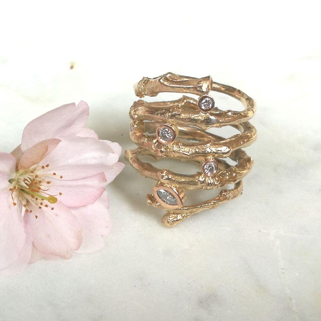 Kirschzweigring mit Diamant - Rosegold