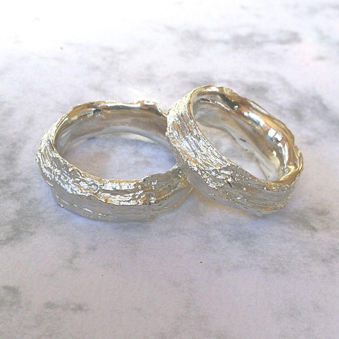 Ring Apfelbaumrinde-Struktur Silber