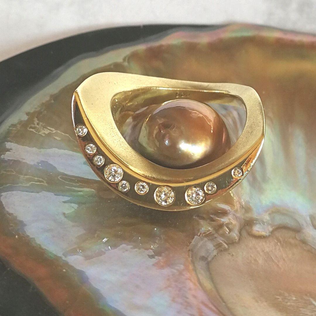 Mondring Gold mit Diamanten