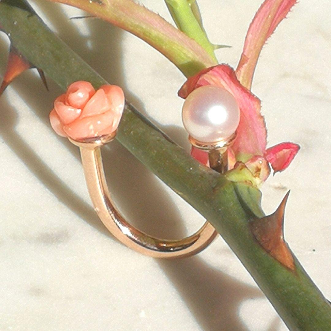 Rosenring - Koralle Perle - Rosegold