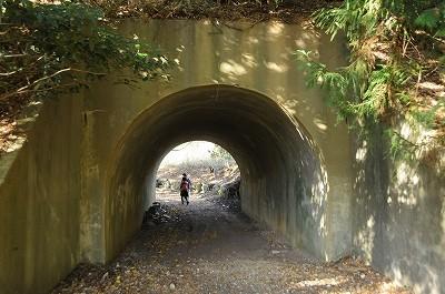 火薬庫の土塁につけられた通路用のトンネル。