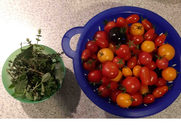 Ein Beispiel: die EM-Tomaten-Salsa, aus leckeren, verschiedenen, sonnengereiften Tomaten und Kräutern...
