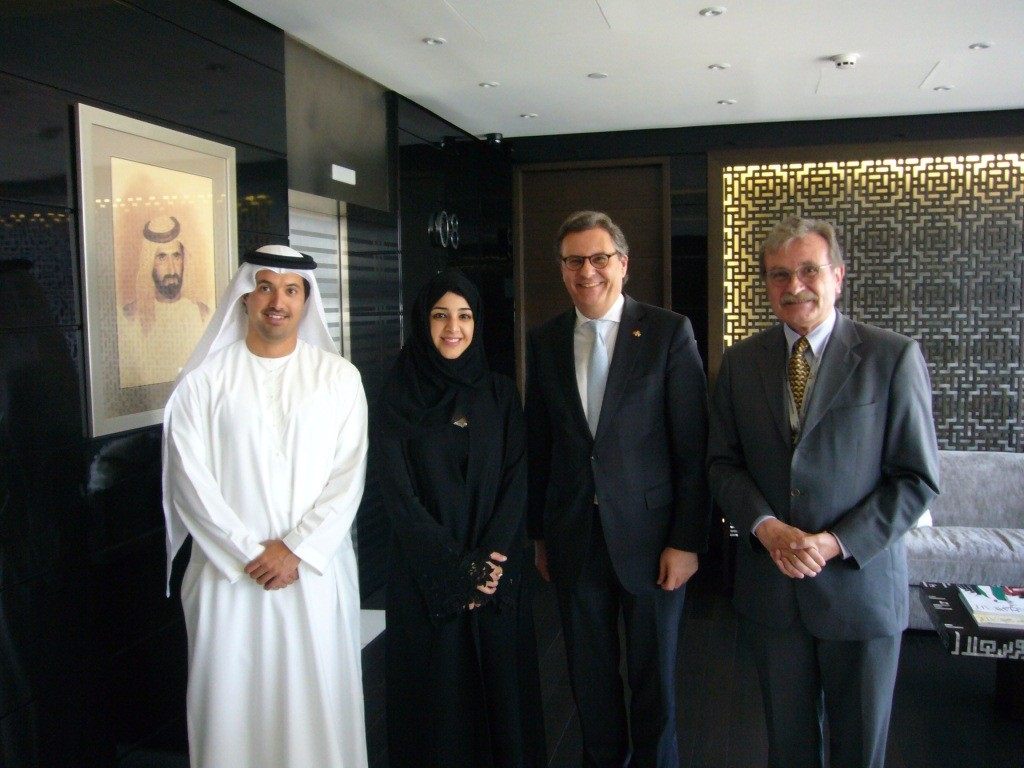 Gespräch mit Staatsministerin Reem Al-Hashimy und Helal S.K. Almarri, CEO des Dubai World Trade Center (Ort der intersec)