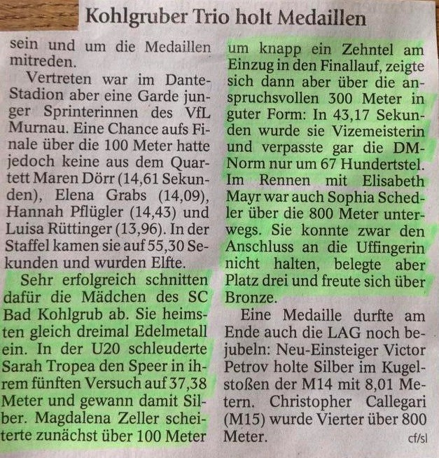 Oberbayrische Meisterschaften  Dantestadion 13.06.2015