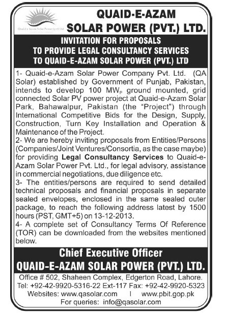 Legal Consultancy Services Advertisement - 27/11/2013