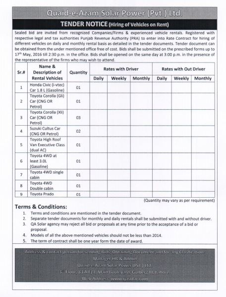 Tender Notice for hiring of vehicles valid till 17th May 2016