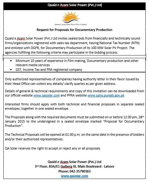 Request for Proposals for Documentary Production - 08/01/2015