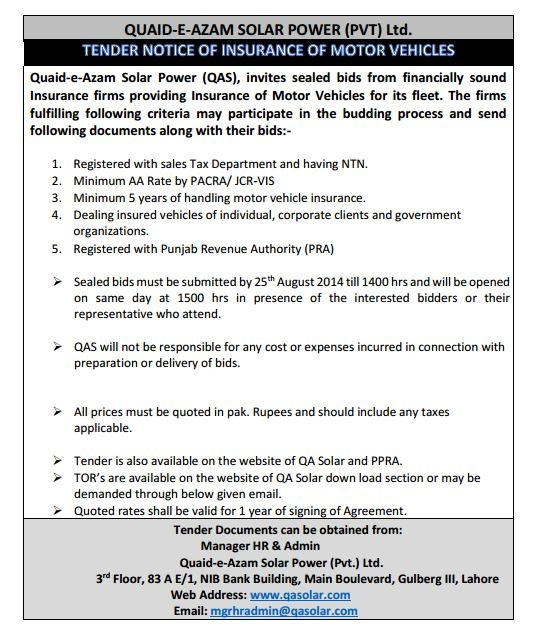 Tender Notice of Insurance of Motor Vehicles (Valid till 25th August 2014))
