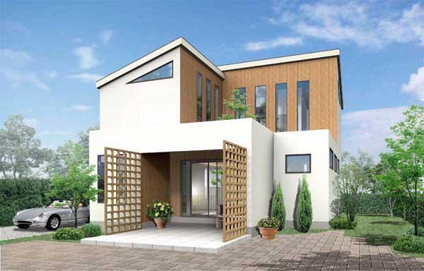 広島県に建設のモデル住宅の外観パース