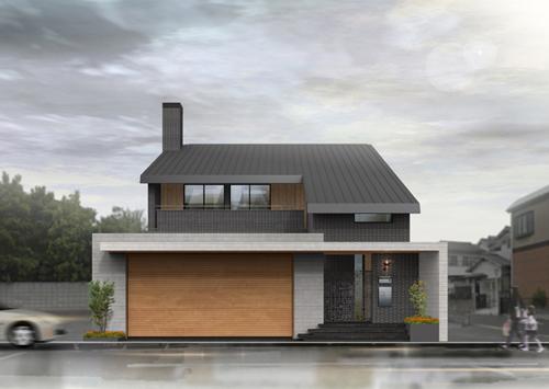 岡山市に建設の住宅外観パ-ス
