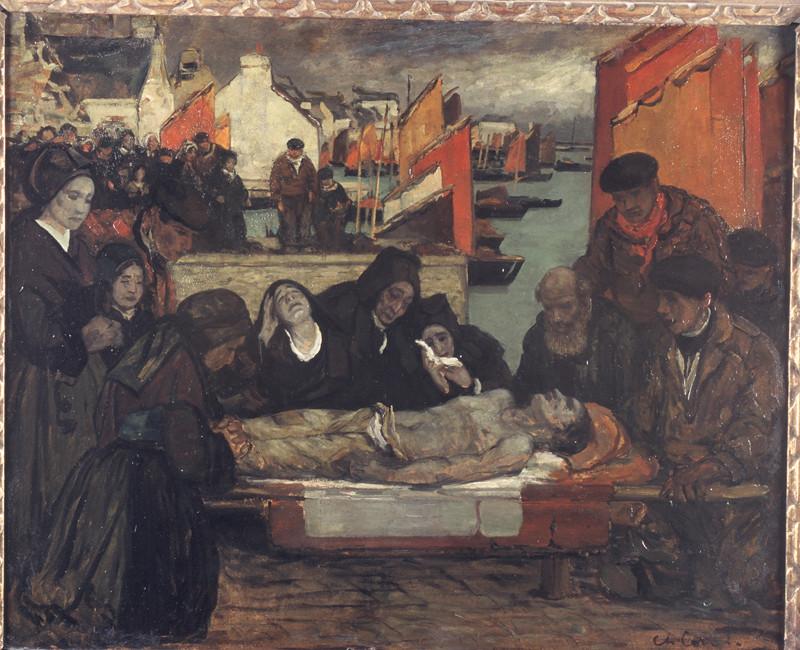 Charles Cottet, Les victimes de la mer, huile sur carton, dépôt du Musée d'Orsay au musée des beaux-arts de Brest.