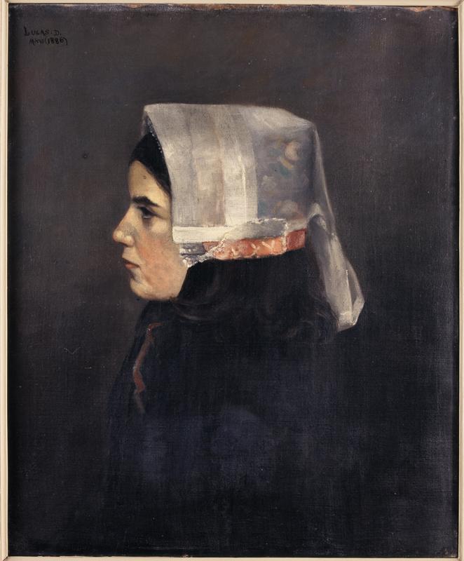 Louis-Marie Désiré-Lucas, La Jeune Ouessantine, 1886, huile sur toile, collection musée des beaux-arts de Brest métropole.