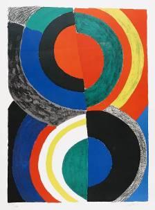 Sonia Delaunay, Idole, 1970, lithographie en couleurs sur papier, collection musée des beaux-arts de Brest métropole.
