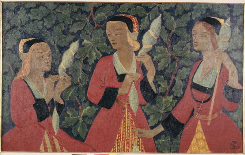 Paul Sérusier, Les trois fileuses, 1918, huile sur toile, dépôt du Musée d'Orsay au musée des beaux-arts de Brest.