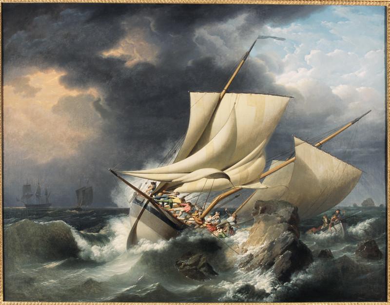 Louis-Philippe Crépin, Scène de naufrage, vers 1800, huile sur toile, collection musée des beaux-arts de Brest.