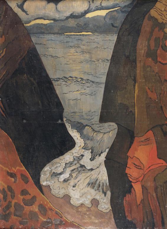 Georges Lacombe, Vorhor, vague grise, 1892, peinture à l'oeuf sur toile.