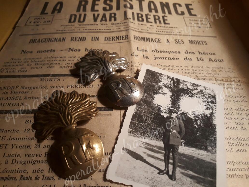 Souvenirs et photo du gendarme SHEER, journal de la libération de Draguignan rendant hommage aux martyrs. collection privée.