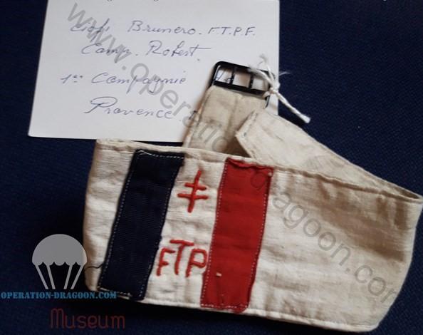 Authentique brassard de Brunéro CIOFI, souvenir de son appartenance au réseau FTPF d 'Aups.