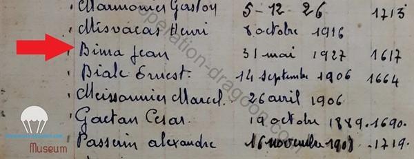 Extrait du document original  1944 de la liste des résistant de la ville des Arcs sur Argens.
