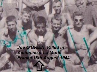 Dernière photo des freres d'armes, seulement un jour avant sa mort. Joe O'BRIEN au centre. Italie 14 aout 1944.