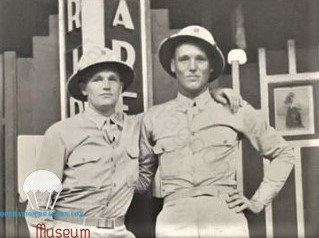 Earl HADLEY on left, with a 550th brother in Arm, in Panama. 1942.