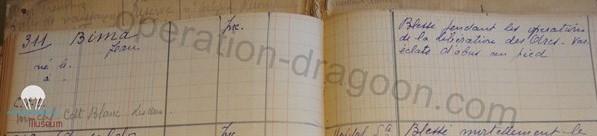 Document original , registre  des blessés et tués département du Var durant les combats de libération.