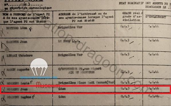 Extrait de la liste des membres Section Parachutage de la région Sud Est. R2 retrouvé aux archives de la défense. Paris.